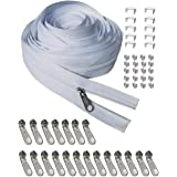 Bulk Zippers 10 Yards #3 Nylon Coil Zippers by The Yard White with 20pcs Zipper Sliders and 10pcs top Stops for Sewing Tailor