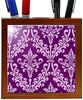 Rikki Knight 5-Inch Plum Color Damask Design Wooden Tile Pen Holder (RK-PH1329) [並行輸入品]