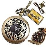 [リトルマジック] 黒文字盤 時計うさぎ 日本メーカー製クオーツ アリス 懐中時計 レディース 5点 ギフトBOXセット LM1278