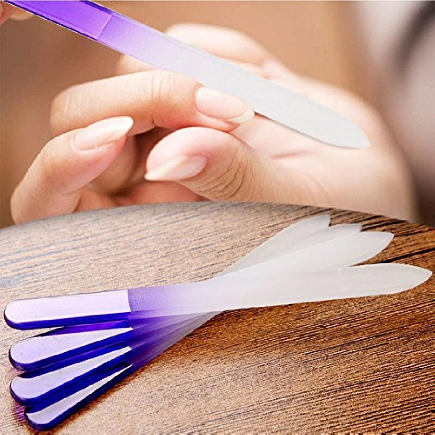 囚人送る永久にLiebeye マニキュア ネイル ファイル クリスタル ガラス ファイルバッファー 装置研磨 ネイル アート 装飾 ツール 4本