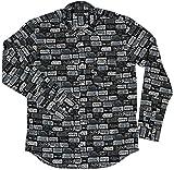 ナンバープレート プリント オックスフォード シャツ 日本製 77315 (L, ブラック)