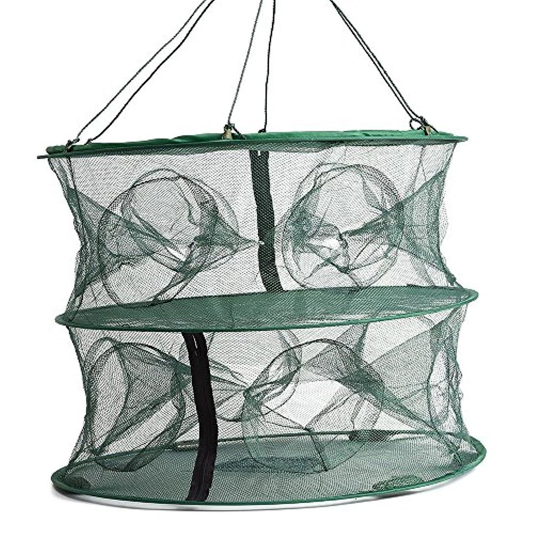 海外でトラップ刈る55 45 cm折りたたみ式二層12 Entrancesトラップ釣りネットケージロブスター魚Keep Crayfish Netメッシュケージ