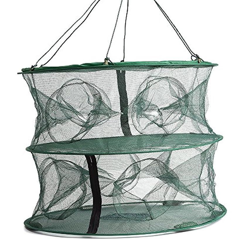 武器最大のオーバーフロー55 45 cm折りたたみ式二層12 Entrancesトラップ釣りネットケージロブスター魚Keep Crayfish Netメッシュケージ