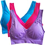 Hottime Sports Bras for Women Pack, 3 Wireless Yoga Bras with Removable Pad,