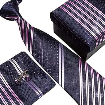 Laquest シルク 100% ネクタイ ポケットチーフ カフスボタン 3点セット 収納BOX 付 (ダークネイビーストライプ(3)) | Laquest | ネクタイ 通販