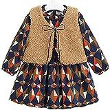 baby-mine (ベイビーマイン) 子供服 ワンピース もこもこ ベスト 付き 北欧風 裏起毛 ガールズ ワンピ 長袖 女の子 ドレス (90, ブラウン)