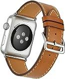 Apple Watch Band Wollpo? 真皮 替換表帶 高級 皮革 商務用 手表表帶 Real Leather Watchband for Apple WatchApple Watch 真皮 替換表帶 高級 皮革 商務用 手表表帶 Real Leather Watchband for Apple Watch (42mm/44mm, 棕色)