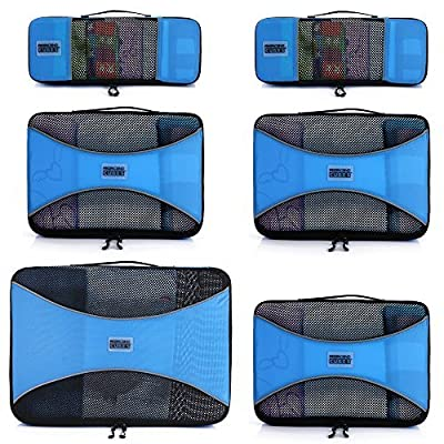 Pro Packing Cubes 6 Piece Lightweight Travel Cube Set of Luggage Organizers