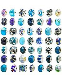 TOAOB 50 Piece Assorted Lampwork Murano Glass Bead Rhinestone Metal European Beads Fit Snake Style Charm Bracelet