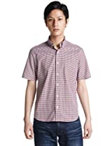 Short Sleeve Pinpoint Oxford Gingham Buttondown Shirt 3216-166-0319: Wine