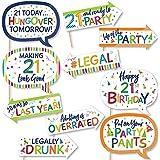Big Dot of Happiness 面白い 21歳の誕生日 陽気な誕生日 カラフルな20歳の誕生日パーティーフォトブース小道具キット 10ピース