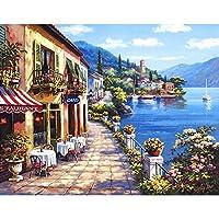 DIY数字油絵 風景 海辺の町 絵画 初心者 子供 大人 塗り絵 手塗り ホーム オフィス装飾 40x50cm (14)