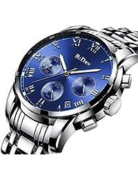 腕時計、メンズ腕時計、ラグジュアリークラシックステンレス腕時計ビジネスカジュアルウォッチメンズ防水マルチ機能クォーツ腕時計メンズ (ブルー)