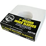 "(100) Archival Quality Acid-Free Heavyweight Paper Inner Sleeves for 7"" Vinyl Records #07IW"