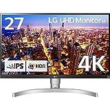 LG モニター ディスプレイ 27UK650-W 27インチ/4K/HDR10対応(標準輝度:350cd/㎡)/IPS非光沢/HDMI×2、DisplayPort/高さ調節、ピボット対応
