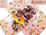 花ひめ ブランド 7歳用 四ッ身着物 式部浪漫 結び帯・箱せこセット 総柄ピンク地着物 黒花紋様帯 7k-59