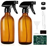 Tecohouse Glass Spray Bottles for Cleaning Solutions and Essential Oils, 125ML Small Empty Refillable Sprayer Container with