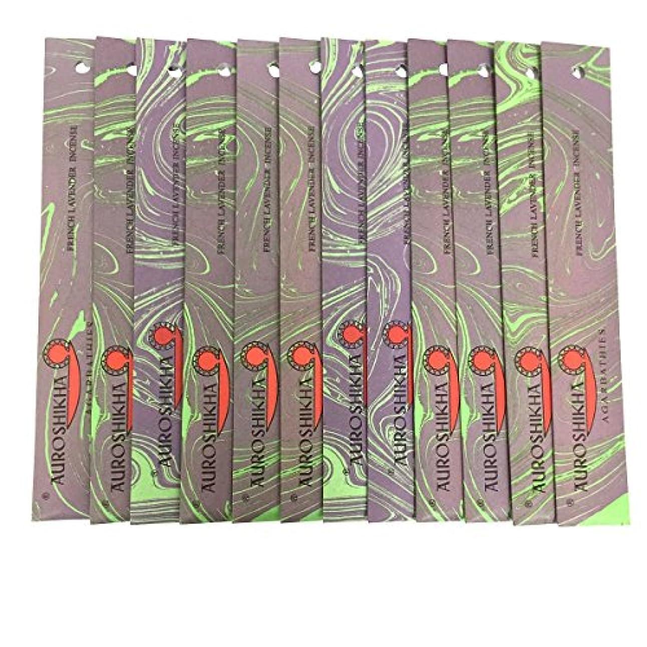 安全な手つかずの飢饉AUROSHIKHA オウロシカ(FRENCHLAVENDERフレンチラベンダー12個セット) マーブルパッケージスティック /お香/インセンス/インド香