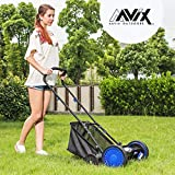 AAVIX 16inch Reel Mower Hand Push Mower Manual Lawn Mower 5Blades 1Bag 4Wheels