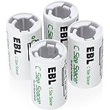 EBL 電池スペーサー(単2タイプ4コ入り)電池変換アダプター 単3→単2変換 単3形充電池用 サイズ変換スペーサー