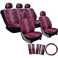 OxGord 17pcセットヒョウ動物印刷自動シートカバーセット–フロントLow Backバケット–背面分割ベンチ–ピンク