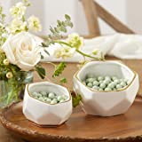 Kate Aspen Geometric Ceramic Planters Decorative Bowls (Set of 2) Trinket Dish, Home, Room, Desk, Table Décor, Medium, White
