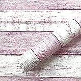 BENQUE 壁紙シール 木目調 3D DIY ウォールステッカー はがせる 45cm×10M 03.ピンク×ホワイト