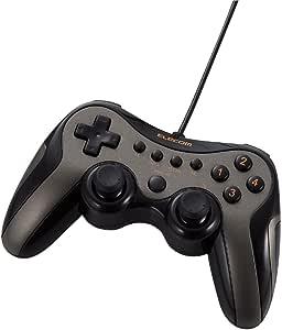 【2009年モデル】ELECOM ゲームパッド USB接続 アナログスティック搭載 振動/連射 12ボタンダークシルバー JC-U2912FSVD
