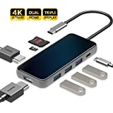 HARIBOL Triple Display USB C HUB with 2 HDMI, 8 in 1 USB-C Laptop Docking Station with 87W PD, 3 USB3.0, SD/TF Card Reader fo