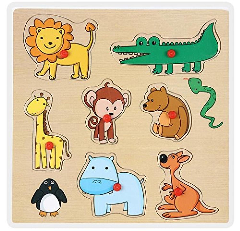 HuaQingPiJu-JP 教育木製のパズルアーリーラーニング番号の形の色の動物のおもちゃ子供のための素晴らしいギフト(動物)