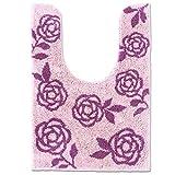 オカ スイートローズ トイレマット 約84×60cm ピンク ( 耳長サイズ ふわふわ 薔薇 花柄 トイレ )