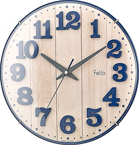 Felio(フェリオ) 壁掛け時計 ブリュレ アナログ表示 連続秒針 ネイビーブルー FEW181NB-Z