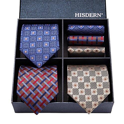(ヒスデン) HISDERN メンズ 洗える ネクタイ ハンカチ 3本 セット 収納BOX 付き ビジネス結婚式 就活 プレゼント 様々なセットを選べる TB3006