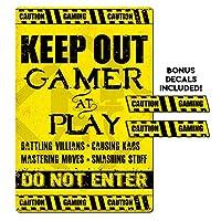 IT'S A SKIN Gamer、ビデオゲームプレーヤー、Keep Out メタルサイン、寝室、ドア、男の隠れ家に。 ステッカー2枚付き。