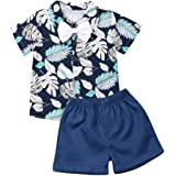 Toddler Boys Gentleman Outfit Set Short Sleeve Printed Bow Tie Tops Shirt Casual Shorts Summer Children Clothes