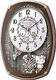 Hello Kitty ( ハロー キティ ) からくり 電波 キャラクター 掛け時計 アナログ M540 メロディ 30曲搭載 ピンク リズム時計 4MN540MB13
