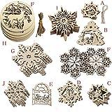 BOBORA クリスマス ツリー 飾り デコレーション オーナメント 雪の結晶型 10個セット 11種 木製 手作り 装飾 コースター ぶら下げ 小物 飾りつけ ギフト DIY パーティー ロープ付き