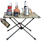 k-outdoor キャンプ テーブル アウトドア 折りたたみテーブル ロールテーブル アルミ製 食事テーブル 室内使用可 ハイキング キャンプ ピクニック 軽量 収納バッグ付 迷彩