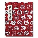 御朱印帳 60ページ ブック式 ビニールカバー付 和柄猫模様 赤