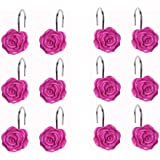 DLD Shower Curtain Hooks, 12 Anti-Rust Decorative Resin Hooks (5 Colors Available) for Bathroom, Baby Room, Bedroom, Living R
