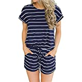 GEMBERA Women Summer Short Sleeve Striped Rompers Casual Loose Jumpsuit Playsuit with Pockets
