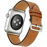 Apple Watch Band Wollpo® 本革 交換バンド 高級 レザー ビジネス用 腕時計ベルト Real Leather Watchband for Apple WatchApple Watch 本革 交換バンド 高級 レザー ビジネス用