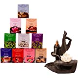 Eleet Assorted Masala Back Flow Cones- 10 Premium Fragrances 8 Cones Each Incense Hand Rolled in India Total 80 Cones (10, Ma