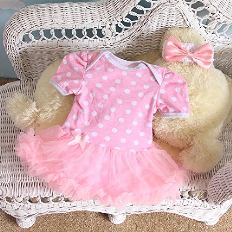 ベビー ワンピース風 ロンパース 半袖 3-6M 6-12M 60 70 80 おそろいの ヘアバンド付き 女児 (6-12M, 水玉ピンク)