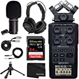 Zoom H6 All Black Six Track Portable Recorder Podcasting Bundle with Zoom Dynamic Mic + Headphones + Accessories