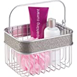 mDesign Bathroom Storage Organizer Basket for Shampoo Conditioner Lotion Towels and More - Metallic