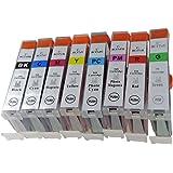 BCI-7e(BK/C/M/Y/PC/PM/G/R)8色セット [Canon]キヤノン 新互換インクカートリッジ残量表示付き (最新型ICチップ付き) 【A.I.S製品】