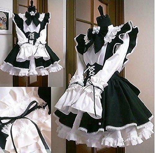 カチューシャ付き メイド 服 衣装3点セット コスチューム メンズ Mサイズ