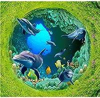 Weaeo キッチンビニールの壁紙モダンカスタムサンゴの海の世界3Dの床のイルカの接着剤キッチンタイルの3D写真の床-450X300Cm