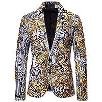 メンズロックスーツブレザージャケット、ストリートラッププリントスタイル、ヴィンテージ花room付け添人スリム2ボタン高級結婚式パーティーディナープロムタキシード,L